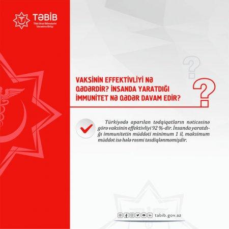 TƏBİB vaksinin insanda yaratdığı immunitetin müddətini AÇIQLADI - FOTO