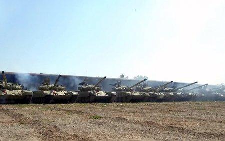 Ordumuzun genişmiqyaslı təlimindən yeni görüntülər - Video