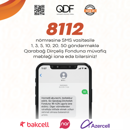 """Qarabağ Dirçəliş Fonduna ianə etmək imkanı yaradıldı - """"8112"""""""
