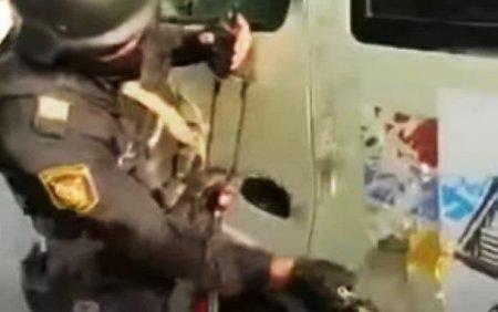 Azərbaycan polisindən ermənilərə süngülü dərs - Video